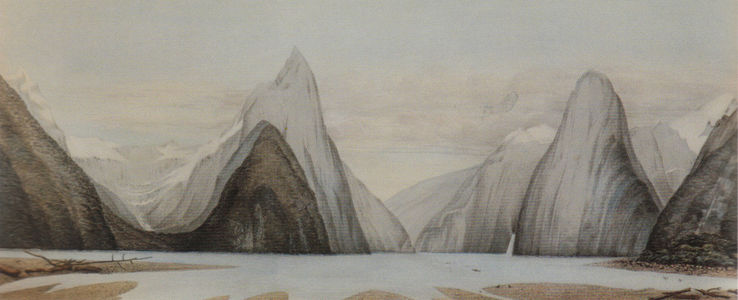 Flickr Photo Download: Milford Sound looking north-west from Freshwater Basin, John Buchanan, 1863