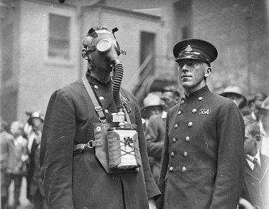 Flickr Photo Download: New gas-masks for the NSW Fire Brigade, Castlereagh Street headquarters, Sydney, 1927   Sam Hood