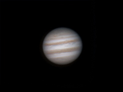 With a telescope I took a picture of Jupiter every 3 minutes for 5 hours, then put all the pics together to make a gif. - Imgur