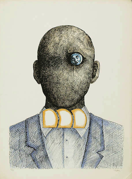 Flickr Photo Download: Roland Topor, Popiersie, color lithography